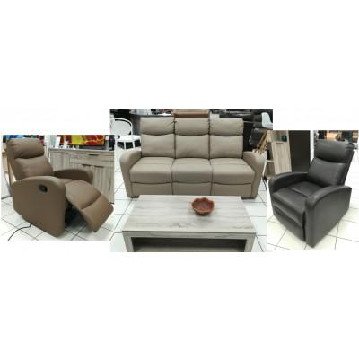 Salon 3 pièces relax: 1 canapé 3 places relax + 2 fauteuils 1 place relax ERDEVEN PU truffe