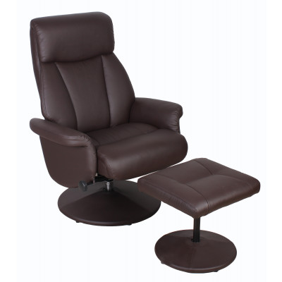 Fauteuil relax massage+repose-pieds STOCKOLM marron clair