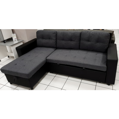 Canapé d'angle convertible FLEXY PU noir/tissu gris