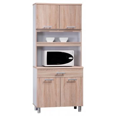 Buffet FLIP chêne clair/blanc 4 portes/1 tiroir