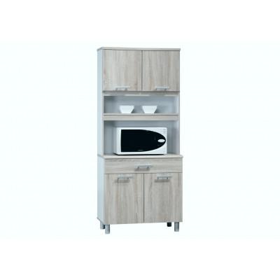 Buffet chêne safari/blanc 4 portes/1 tiroir FLIP