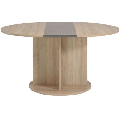 Table ronde avec allonge FUMAY chêne brut/béton L145 cm
