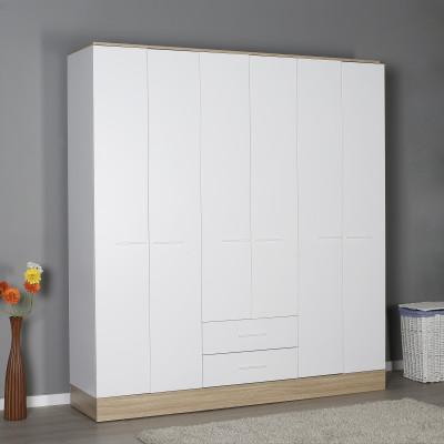 Armoire ALPHA 6 portes 2 tiroirs décor chêne et blanc brillant