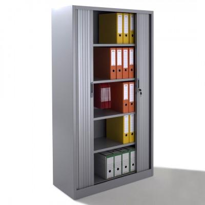 Armoire métal à rideaux L100 H198 cm coloris gris