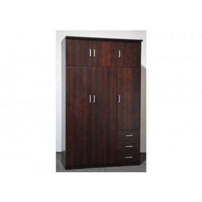 Armoire HELENA Noyer 6 portes 3 tiroirs
