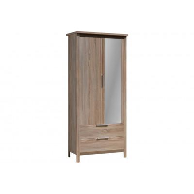 Armoire KENT 2 portes 3 tiroirs décor blanc et Chêne clair