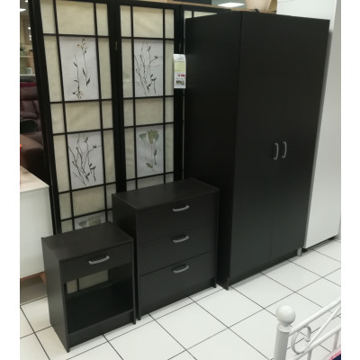 Ensemble armoire 2 portes + commode + chevet 1 tiroir COFFEE