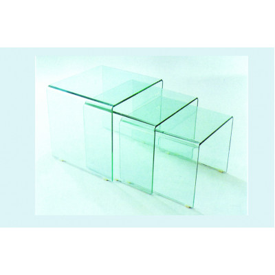 Lot de 3 tables basses gigognes GLASGOW verre clair