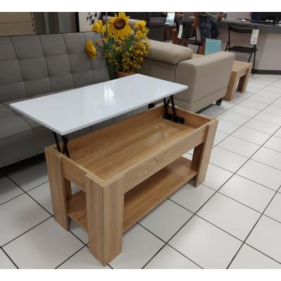 Table basse LIFT blanc brillant/plateau chêne