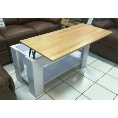 Table basse LIFT blanc brillant/plateau chêne