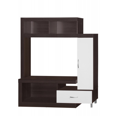 Meuble TV TURIN Wenge et blanc 1 tiroir 1 porte