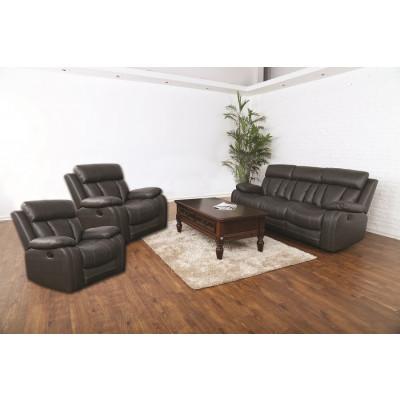 Salon 3 pièces LONG BEACH relax marron : 1 canapé 3 places + 2 fauteuils 1 place  en simili cuir respirant