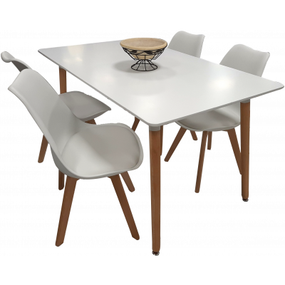 Ensemble table et 4 chaises MALMO blanc
