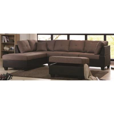 Canapé d'angle + pouf MEMPHIS lin gris/pvc noir