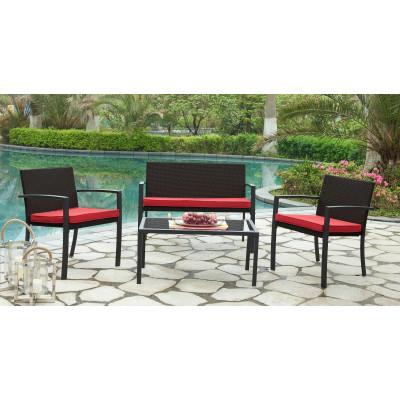 Salon 4 pièces HARMONY/TEMPO marron et rouge : 1 canapé 3 places + 2 fauteuils + 1 table basse