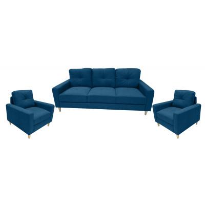 Salon 3 pièces: 1 canapé + 2 fauteuils JESSIE tissu bleu canard