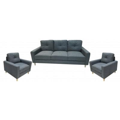 Salon 3 pièces: 1 canapé + 2 fauteuils JESSIE tissu gris