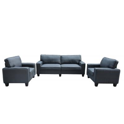 Salon 3 pièces MONTILLA tissu gris: 1 canapé 3 places + 2 fauteuils 1 place