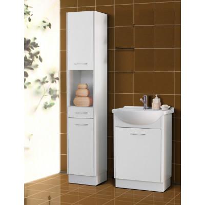 Salle de bains NANCY blanc: 1 colonne + 1 meuble lavabo + 1 vasque