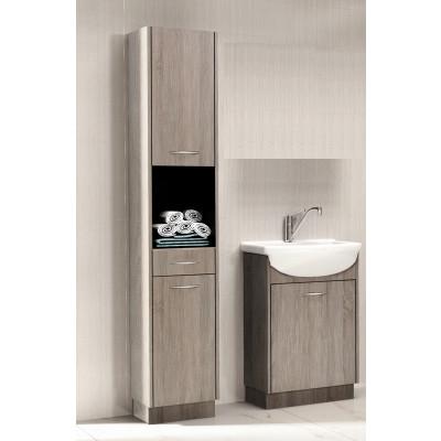 Salle de bains NANCY chêne truffé: 1 colonne + 1 meuble lavabo + 1 vasque