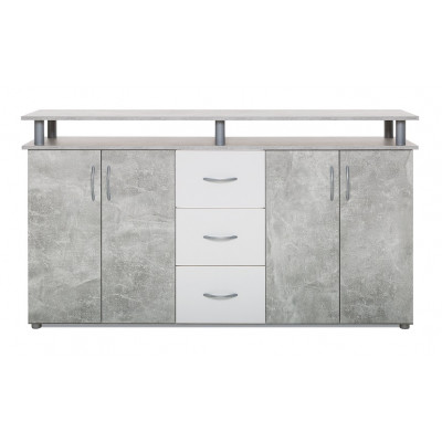 Buffet bas 4 portes 3 tiroirs NEVADA béton structuré/blanc
