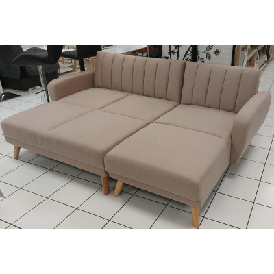 Canapé d'angle convertible+pouf NOUMEA tissu taupe
