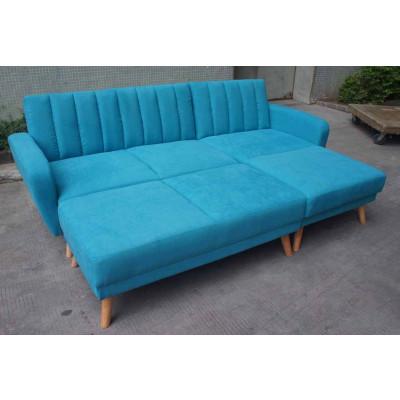 Canapé d'angle convertible+pouf NOUMEA tissu bleu azur