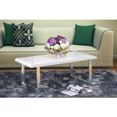 Table basse NOVA laqué blanc/pieds chromés