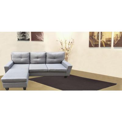 Canapé d'angle/pouf OMAHA lin gris