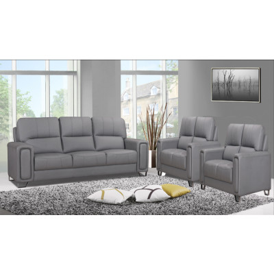 Salon 3 pièces ONTARIO gris foncé : 1 canapé 3 places + 2 fauteuils 1 place
