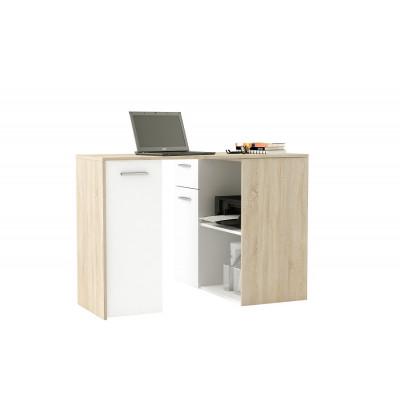 Bureau OPEN 1 porte + 1 tiroir chêne brossé/blanc