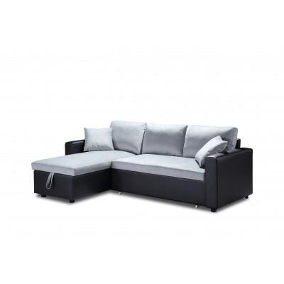 Canapé d'angle convertible ORIGAMI PU noir/Microfibre gris