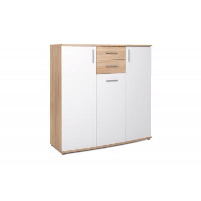 Buffet bas 3 portes 2 tiroirs RONDO 3 chêne/blanc