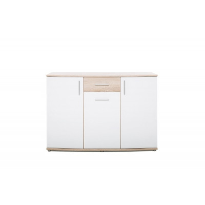 Buffet bas 3 portes 1 tiroir RONDO 1 chêne/blanc