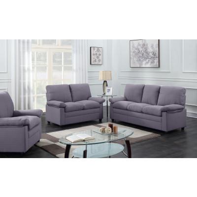 Salon 3 pièces CHICAGO microfibre gris foncé: 1 canapé 3 places + 1 canapé 2 places + 1 fauteuil 1 place