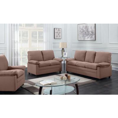 Salon 3 pièces CHICAGO microfibre marron foncé: 1 canapé 3 places + 1 canapé 2 places + 1 fauteuil 1 place