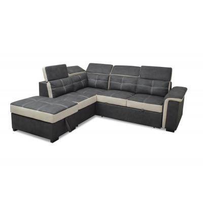 Canapé d'angle convertible FLAVIE nabuk gris/crême et noir avec coutures blanches