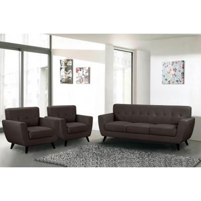 Salon 3 pièces VICKY nubuc marron : 1 canapé + 2 fauteuils 1 place