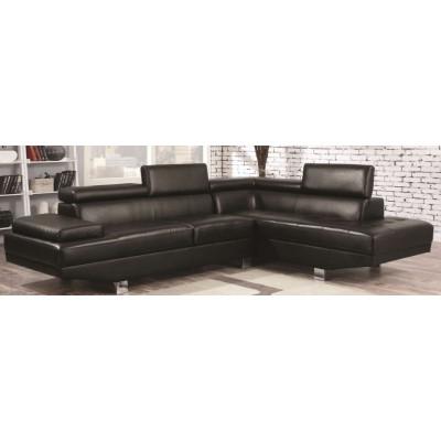 Canapé d'angle convertible SARA PU noir
