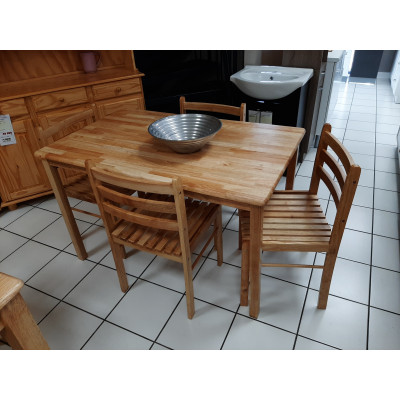 Ensemble Table + 4 chaises STARTER en bois massif (hévéa) vernis naturel
