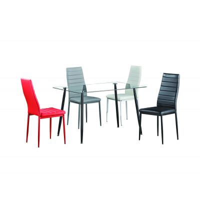 Table de salle à manger BELLA transparent/pieds noirs