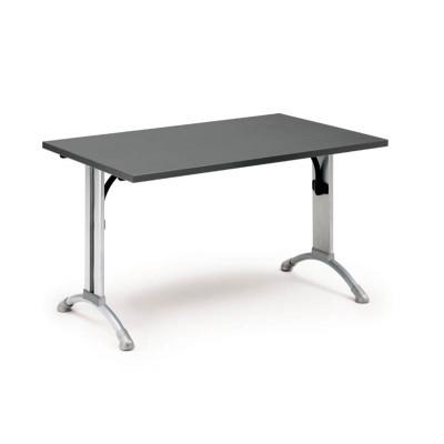 Table individuelle TEIDE pieds rabattables hêtre foncé/piétement noir 160x80cm