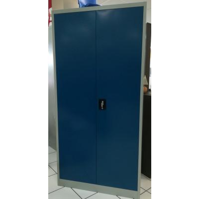 Vest. 2 portes métal multi-fonctions gris clair & portes bleu roi VD-2M