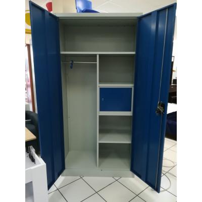 Vest. 2 portes métal multi-fonctions gris clair & portes azur VD-2M