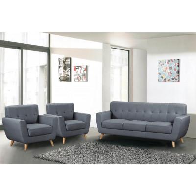 Salon 3 pièces VICKY tissu gris : 1 canapé 3 places + 2 fauteuils 1 place