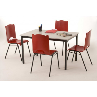Table COMPO hêtre/epoxy alu 140x170cm