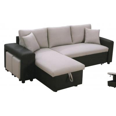 Canapé convertible YODA noir et gris + 2 poufs
